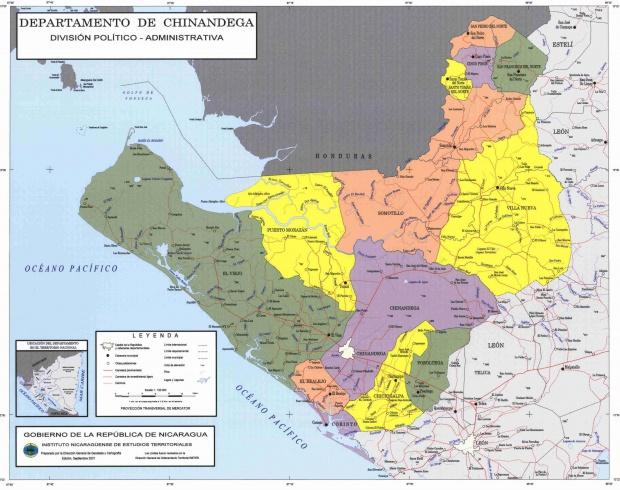 Mapa de Chinandega, División Político-Administrativa del Departamento, Nicaragua