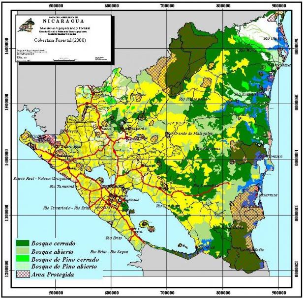 Mapa de Cobertura Forestal, Nicaragua