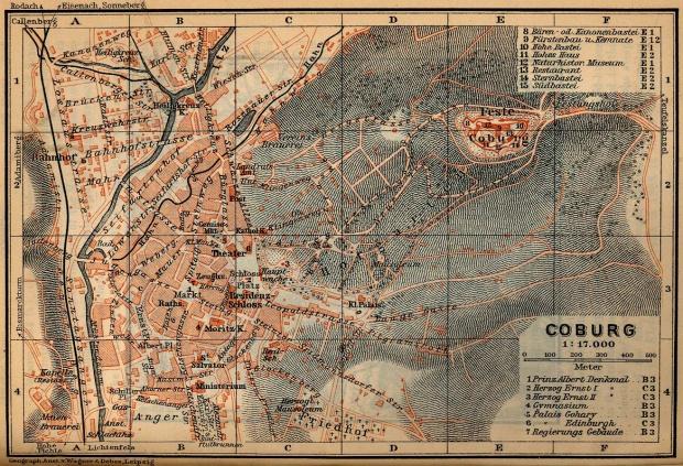 Mapa de Coburgo, Alemania 1910