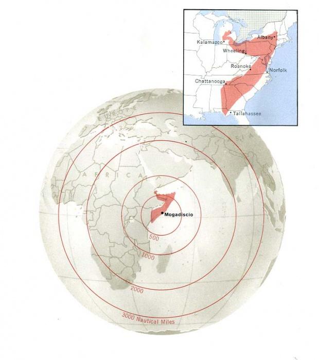 Mapa de Comparación de Área de Somalia