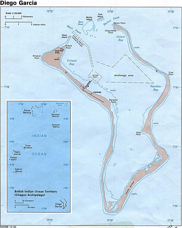 Mapa de Diego García, Océano Índico