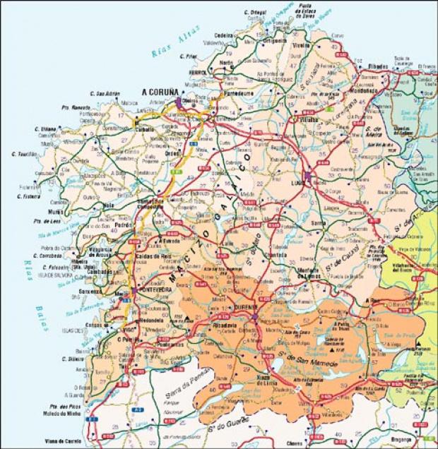 Mapa De La Coruña Galicia España.Mapas Politico De Galicia