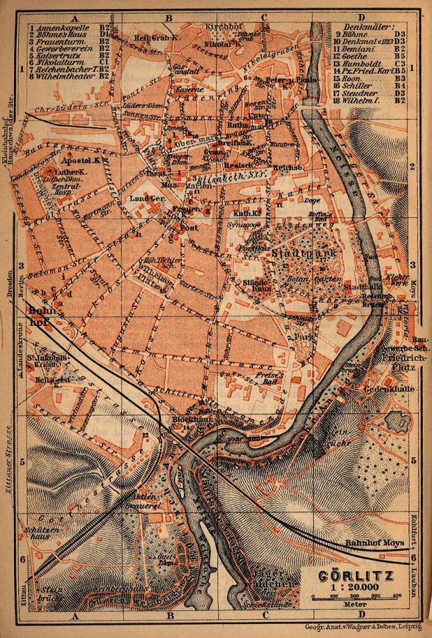 Mapa de Görlitz, Alemania 1910