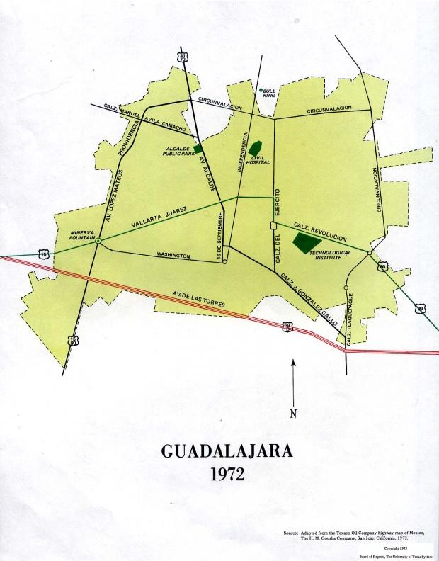 Mapa de Guadalajara , México 1972