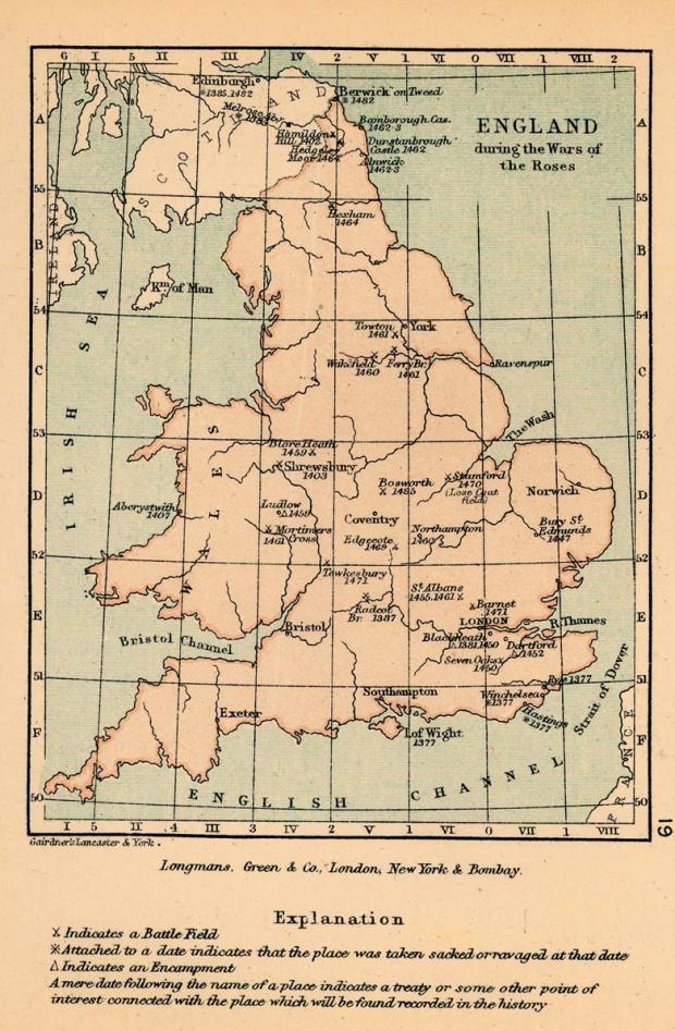 Mapa de Inglaterra Durante la Guerra de las Dos Rosas