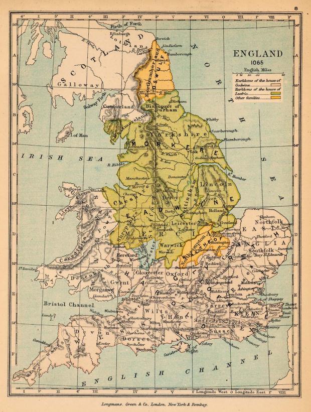 Mapa de Inglaterra en 1065
