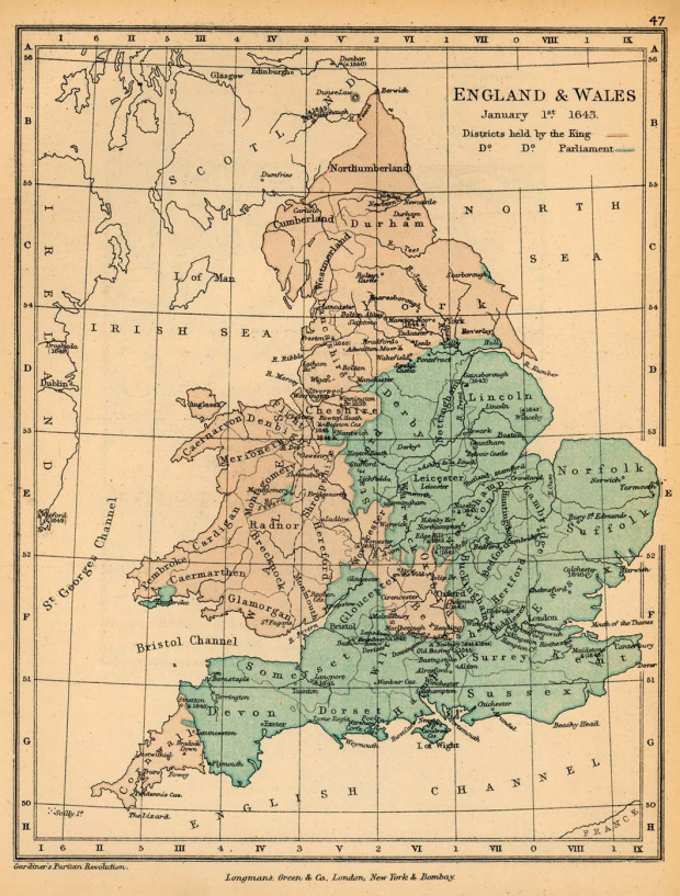 Mapa de Inglaterra y El País de Gales, Enero 1, 1643
