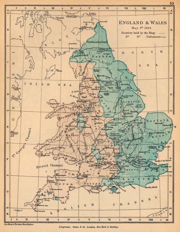 Mapa de Inglaterra y El País de Gales, Mayo 1, 1643
