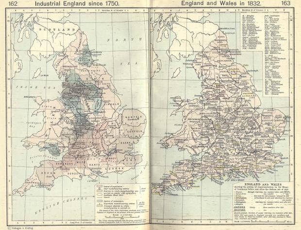 Mapa de Inglaterra y País de Gales en 1832, Inglaterra Industrial Desde 1750