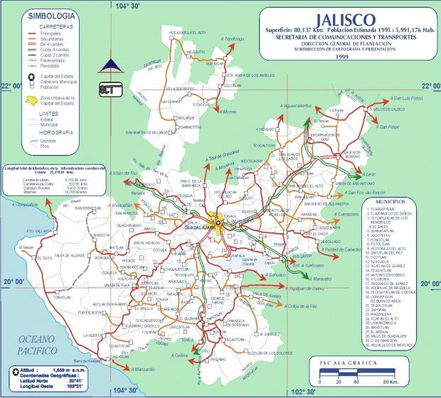 Mapa de Jalisco (Estado), Mexico