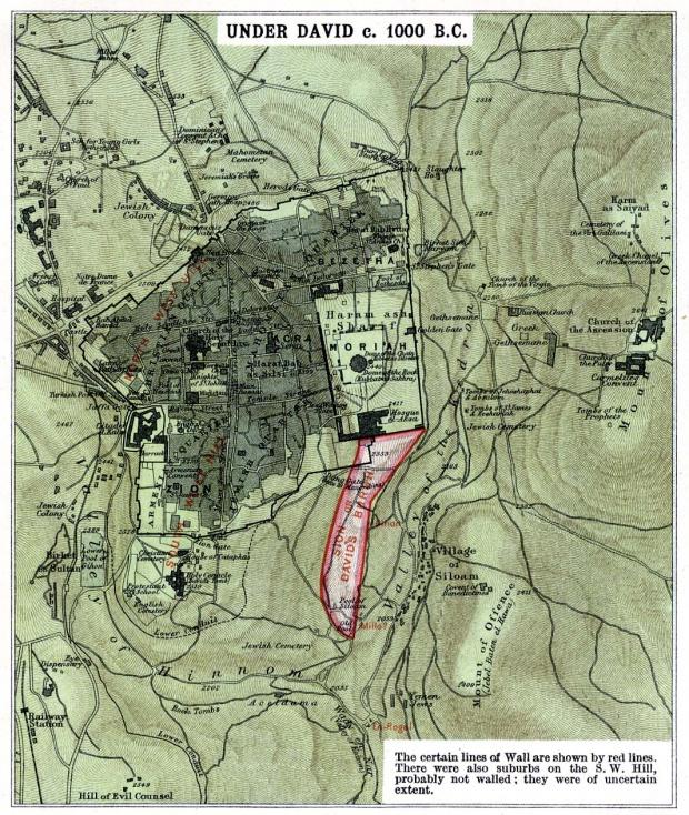 Mapa de Jerusalén Bajo David Circa 1000 adC