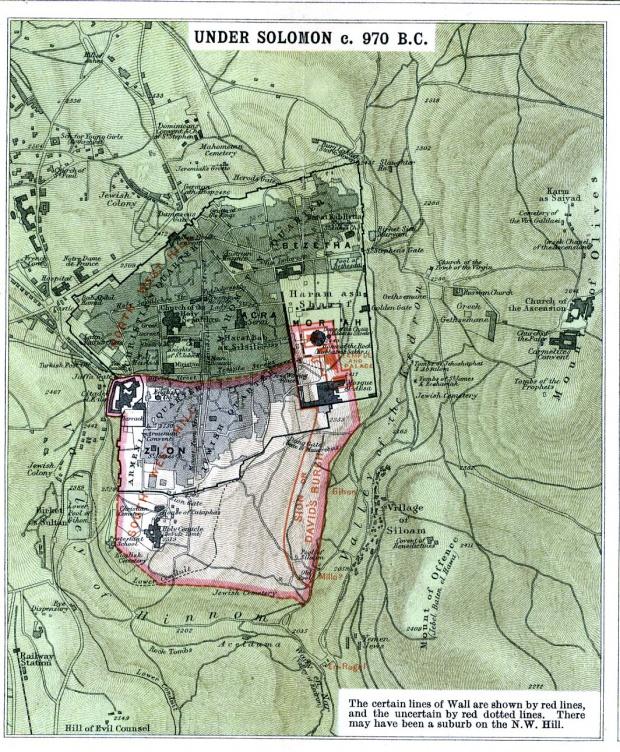 Mapa de Jerusalén Bajo Solomon Circa 970 adC