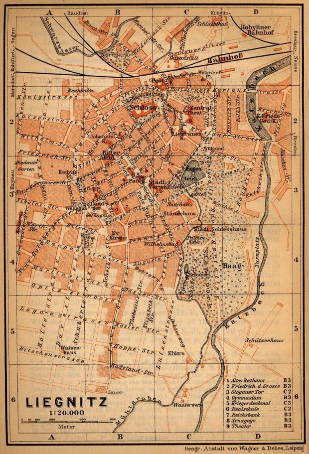 Mapa de Legnica, Polonia 1910