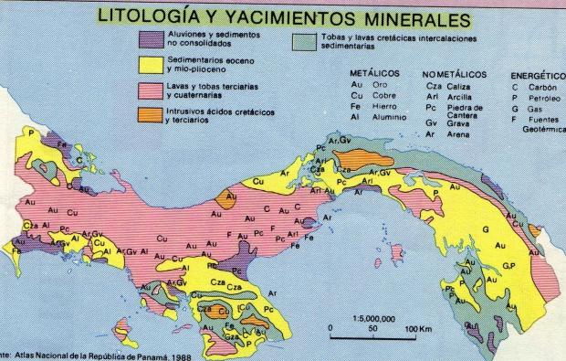 Mapa de Litología y Yacimientos Minerales de Panamá