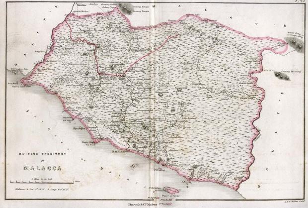 Mapa de Malaca, Malasia 1854