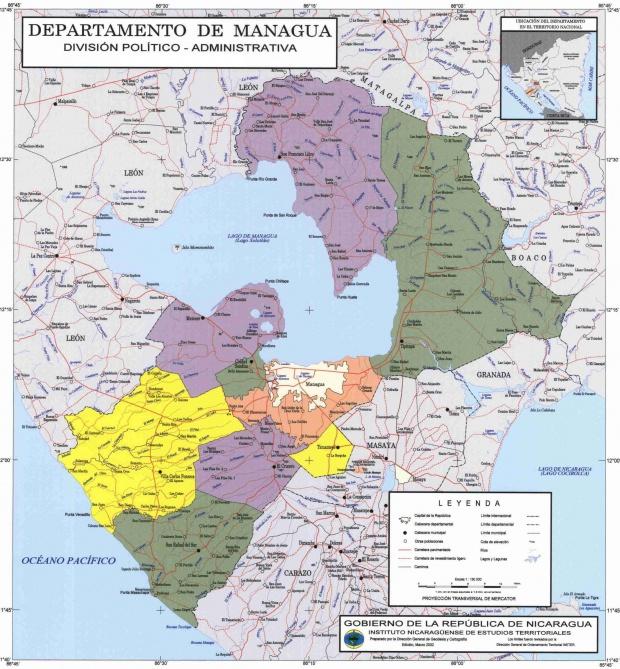 Mapa de Managua, División Político-Administrativa del Departamento, Nicaragua