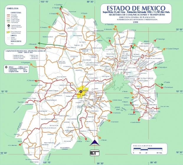 Mapa de Mexico (Estado), Mexico