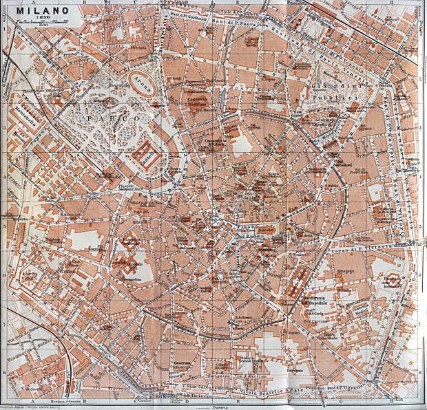 Mapa de Milán, Italia 1913