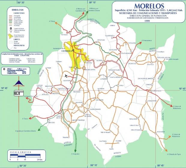 Mapa de Morelos (Estado), Mexico