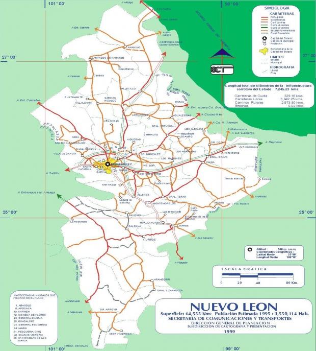Mapa de Nuevo León (Estado), Mexico