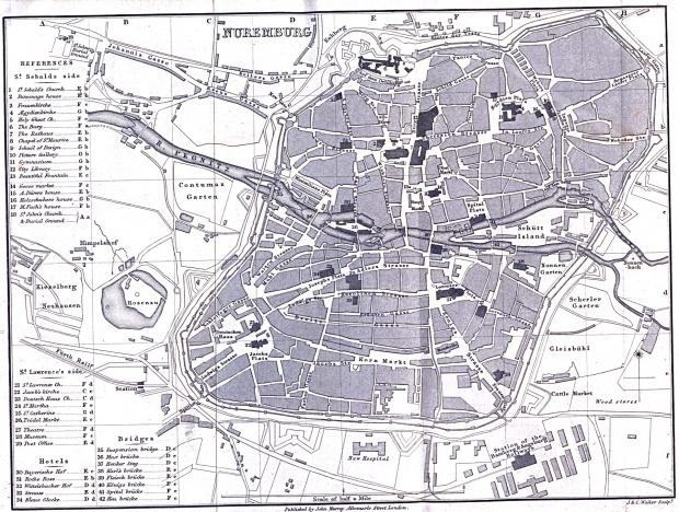 Mapa de Núremberg, Alemania 1858
