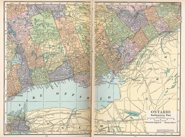 Mapa de Ontario Suroriental, Canadá 1921