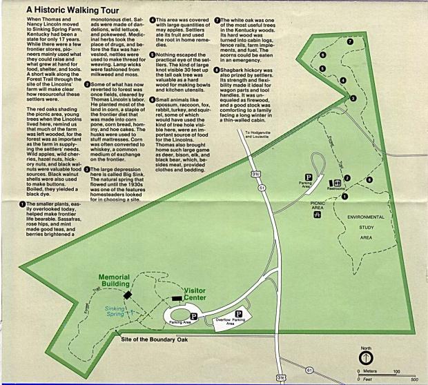 Mapa de Paseo Caminado del Sitio Histórico Nacional Lugar de Nacimiento de Abraham Lincoln, Kentucky, Estados Unidos