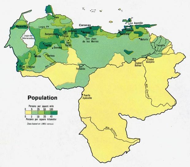 Mapa de Población Venezuela