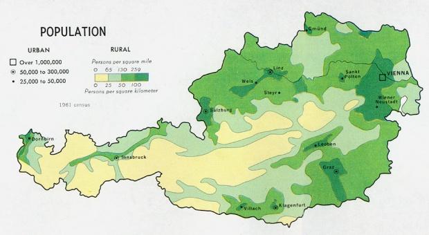 Mapa de Población de Austria