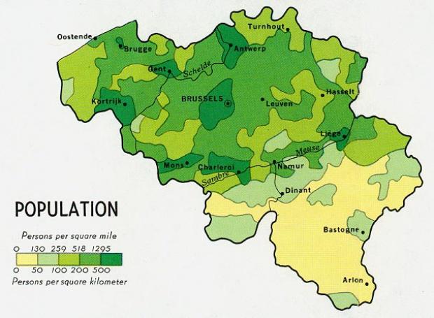 Mapa de Población de Bélgica