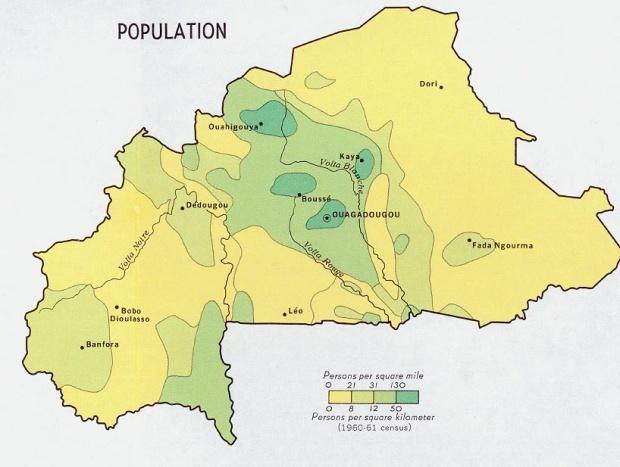 Mapa de Población de Burkina Faso