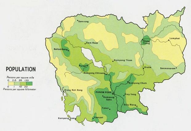 Mapa de Población de Camboya