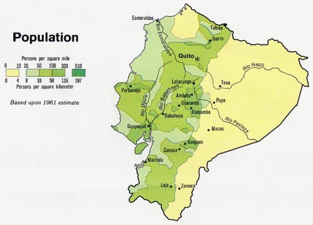 Mapa de Población de Ecuador