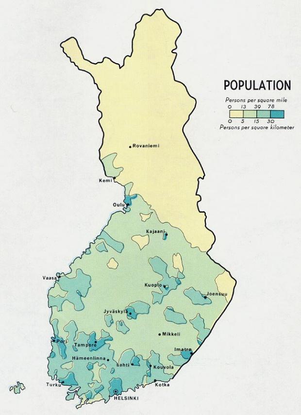 Mapa de Población de Finlandia