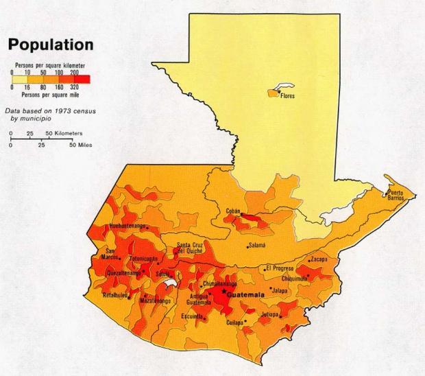 Mapa de Población de Guatemala