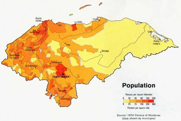 Mapa de Población de Honduras
