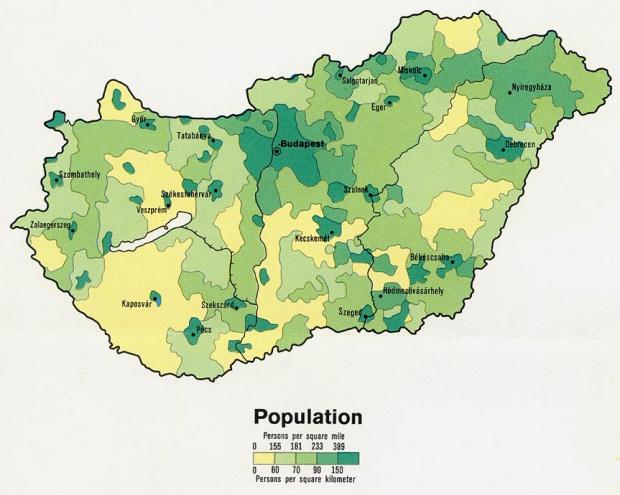 Mapa de Población de Hungría