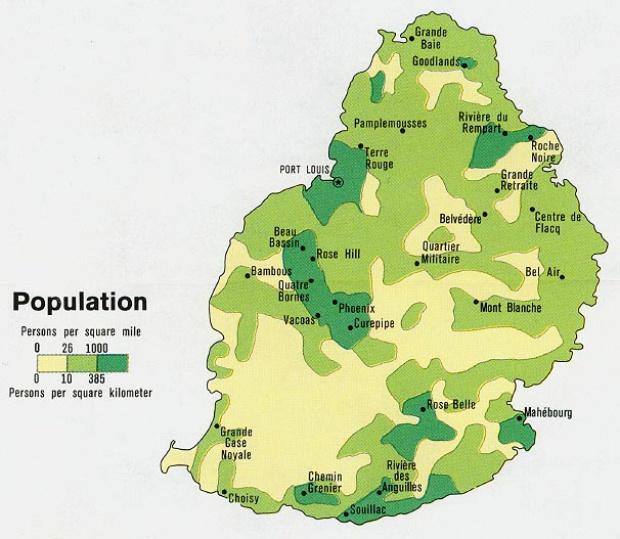 Mapa de Población de Mauricio