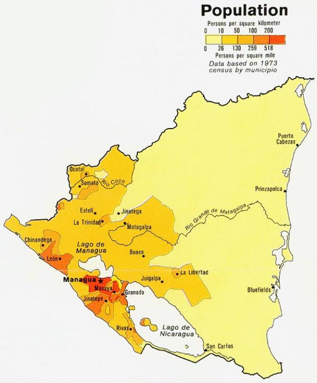 Mapa de Población de Nicaragua
