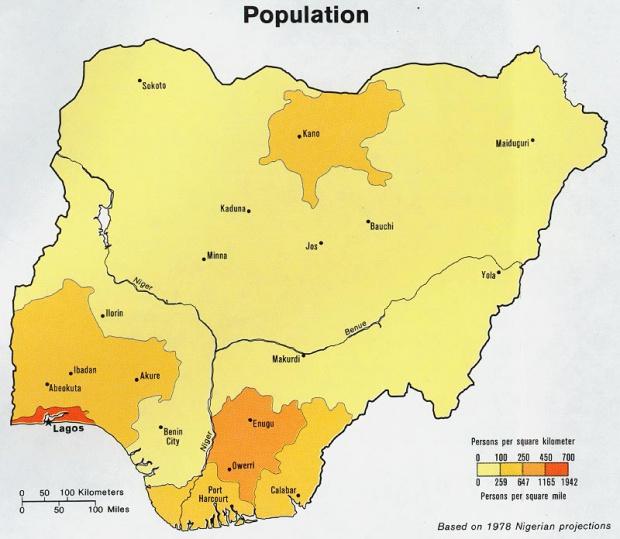 Mapa de Población de Nigeria