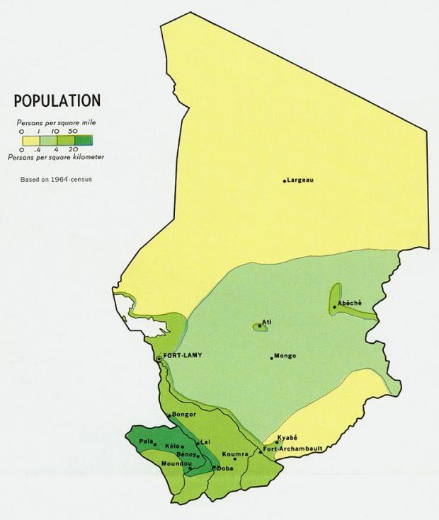 Mapa de Población del Chad