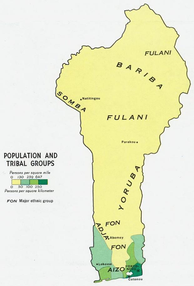 Mapa de Población y Grupos Tribales de Benín