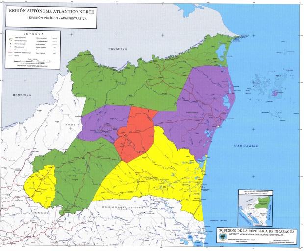 Mapa de Región Autónoma del Atlántico Norte, División Político-Administrativa del Departamento, Nicaragua