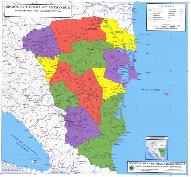 Mapa de Región Autónoma del Atlántico Sur, División Político-Administrativa del Departamento, Nicaragua