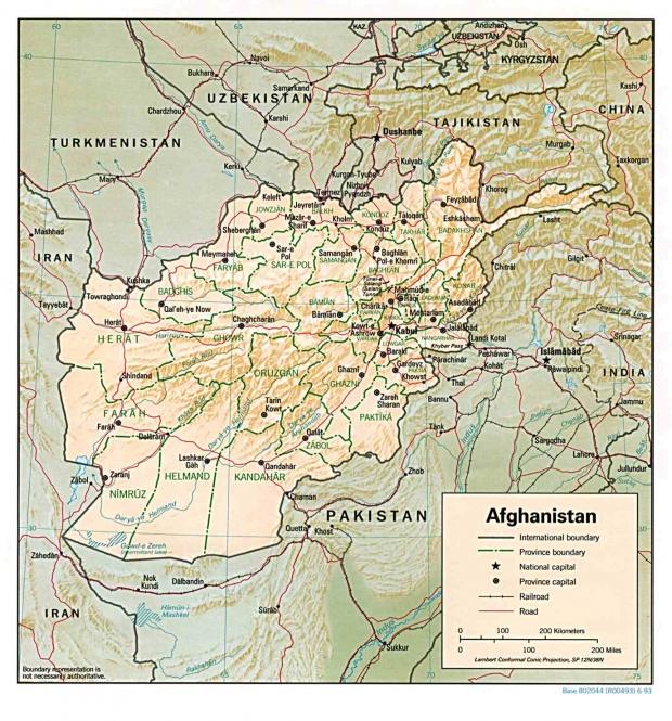 Mapa de Relieve Sombreado de Afganistán