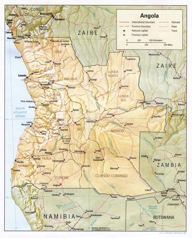 Mapa de Relieve Sombreado de Angola