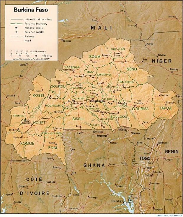 Mapa de Relieve Sombreado de Burkina Faso