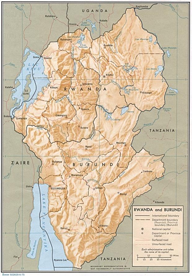 Mapa de Relieve Sombreado de Burundi y Ruanda