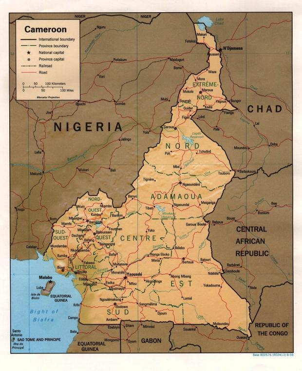 Mapa de Relieve Sombreado de Camerún
