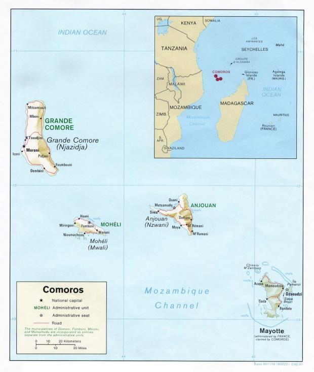 Mapa de Relieve Sombreado de Comoras